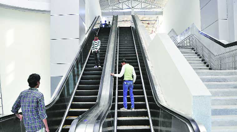 The new escalator at Chandigarh railway station.  (Source: Express photo by Sahil Walia)