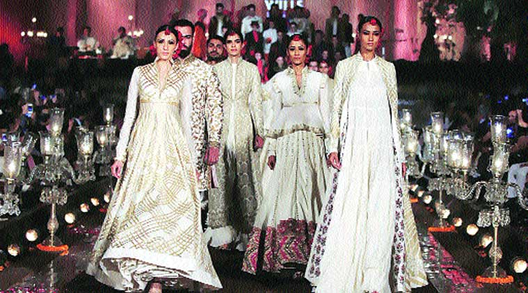 Models walking in creations by designer Rohit Bal at the finale of Wills Lifestyle India Fashion Week's Spring-Summer 2015, held in Delhi