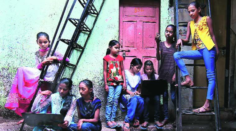 The group of young girls worked on the apps over a period of 90 days from a tiny room in Dharavi (Source: Express photo by Amit Chakravarty)