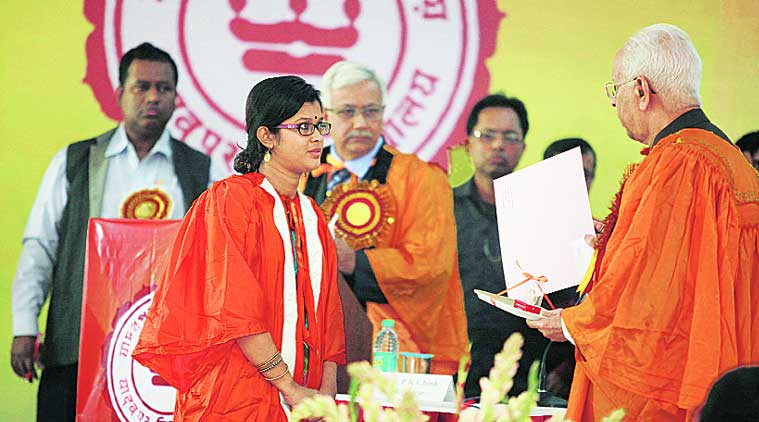 Geetashri refused to accept the gold medal from Governor K N Tripathi. (Source: Express photo by Subham Dutta)