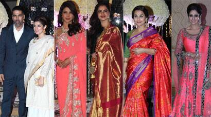 Rekha, Priyanka Chopra, Vidya Balan, Sridevi, Twinkle deck up for Manish Malhotra's niece's reception