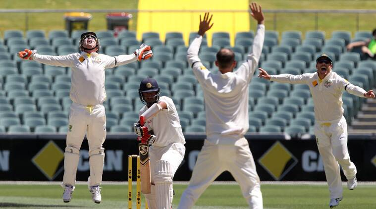 Nathan Lyon celebrates the wicket of Cheteshwar Pujara. (Source: AP)