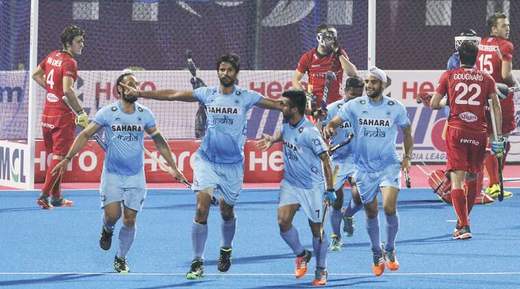 Rupinder Pal Singh opened India's account by converting a penalty corner in the 18th minute. (Source: AP)