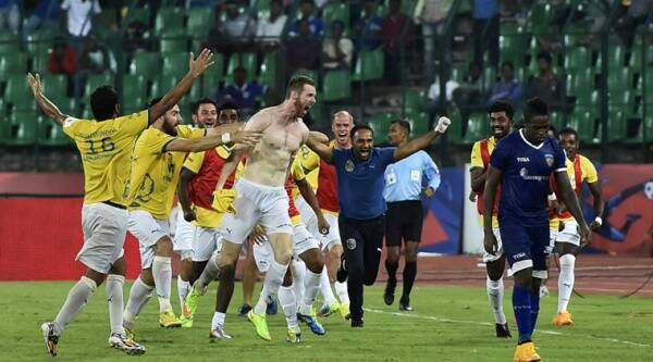 Chennai: Kerala Blasters FC player Stephen Pearson along with teammates celebrating after scoring a goal against Chennaiyin FC during the ISL semi-final match in Chennai on Tuesday. (Source: PTI)