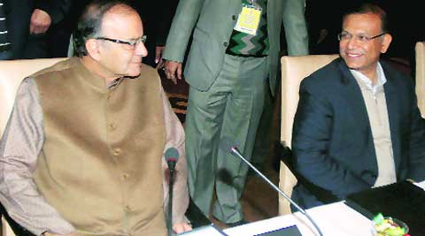 Finance Minister Arun Jaitley with Minister of State Jayant Sinha in New Delhi on Friday. (Source: Express photo by Prem Nath Pandey)