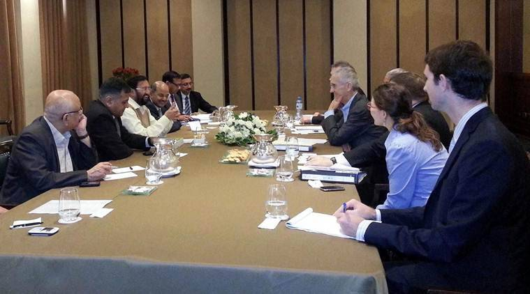 Environment Minister Prakash Javadekar in a meeting with a US delegation during the UN Conference on Climate Change in Lima, Peru on Sunday. (Source: PTI)