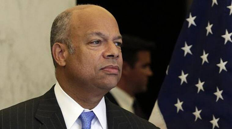 Homeland Security Secretary Jeh Johnson arrives for a news conference in New York. (Source: AP)