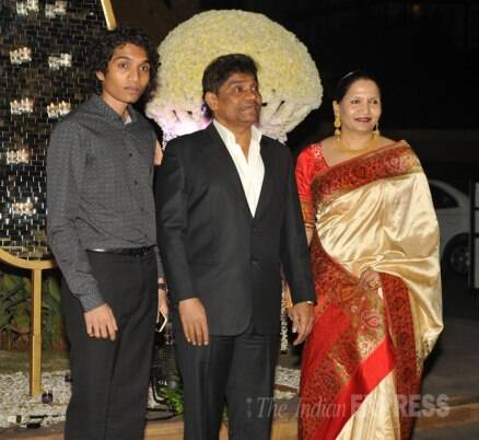 Johnny Lever with his family at a wedding reception