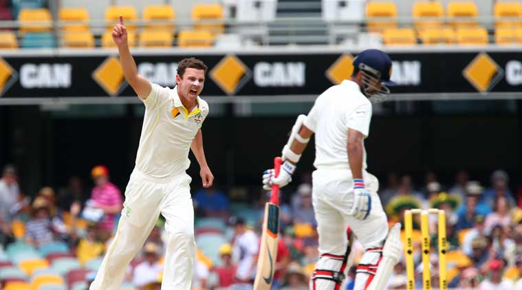 McGrath, who presented Hazlewood with his baggy green cap yesterday, is expecting a long and successful career for the giant fast bowler. (Source: AP)