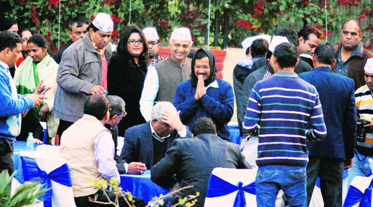 Kejriwal at a fundraiser in Safdurjung Club on Saturday (Source: Express photo by prem Nath Pandey)