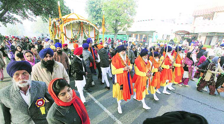 During nagar kirtan in Mohali on Friday. (Source: Express photo by Jasbir Malhi)