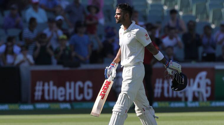 Kohli scored centuries in each innings, including a career-best 141 on Saturday before he was caught in the deep. (Source: AP)