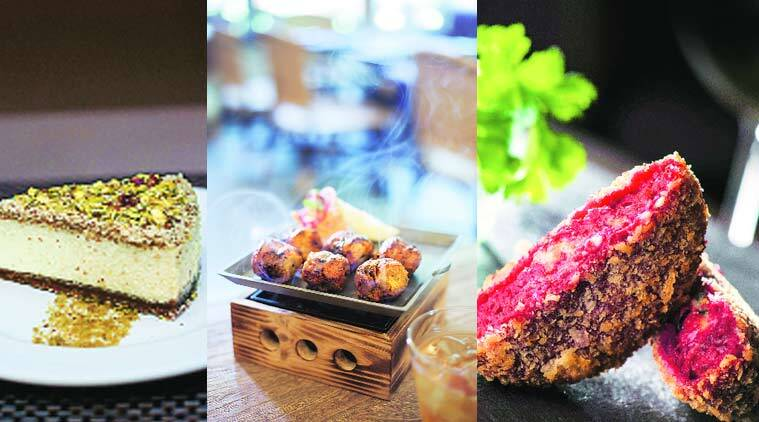 (Clockwise from left) Rahul Dua's bhapa doi cheesecake; char-grilled mushrooms by Amit Naithani; Beetroot Tikki by Satinder Vij
