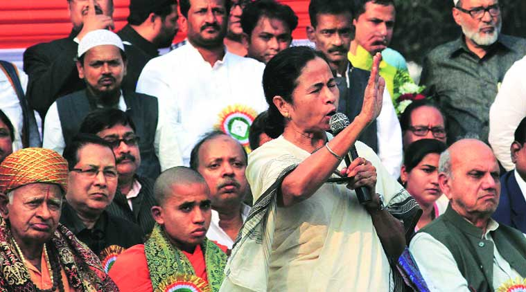 Chief Minister Mamata Banerjee addresses a TMC rally in Kolkata on Saturday. (Source:Express photo)