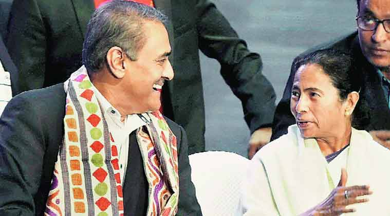 Mamata Banerjee with All-India Football Federation president Praful Patel in Kolkata on Wednesday. (Source: PTI)