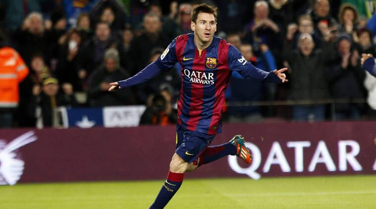 Barcelona's Lionel Messi celebrates after scoring his second goal against Espanyol (Source: Reuters)