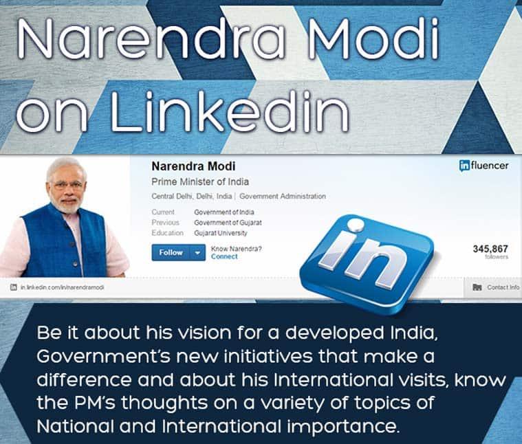 Modi, modi joins linkedin, modi on linkedin, narendra modi