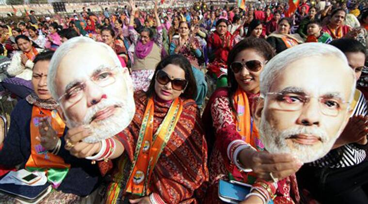 Supporters of Prime Minister Narendra Modi during his election rally in Jammu on Tuesday. (Source: PTI )