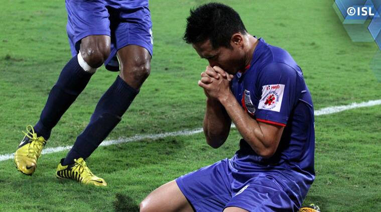 An emotional Ralte after scoring his first goal of the season. (Source: ISL)