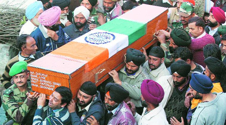 Family members and relatives of Gurmail Singh at his funeral in Makhanpur near Jammu on Saturday. (Source: Express photo by Mukesh Gupta)