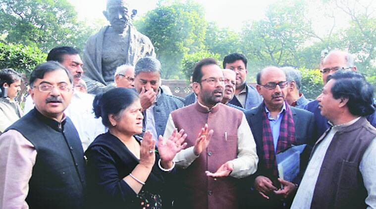 Parliamentary Affairs Minister Mukhtar Abbas Naqvi and other BJP MPs protested at the same spot against the Congress. (Source: Express photo by Prem Nath Pandey)