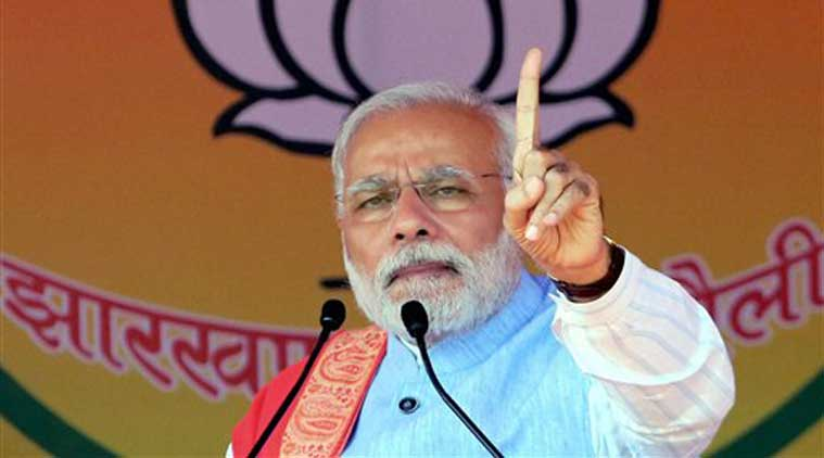 Prime Minister Narendra Modi gives his speech during an election rally in Hazaribagh on Saturday. (Source: PTI)