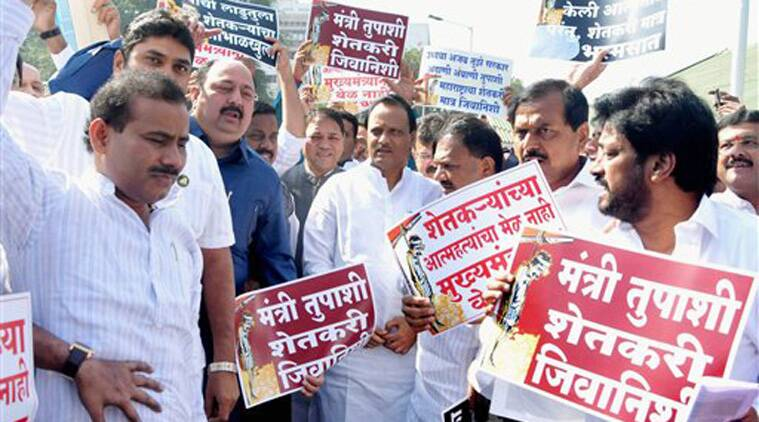 NCP leader Ajit Pawar and party MLAs shouting slogans at a protest over suicide by farmers on the 2nd day of the winter session of Maharashtra Assembly in Nagpur on Tuesday. (Source: PTI)