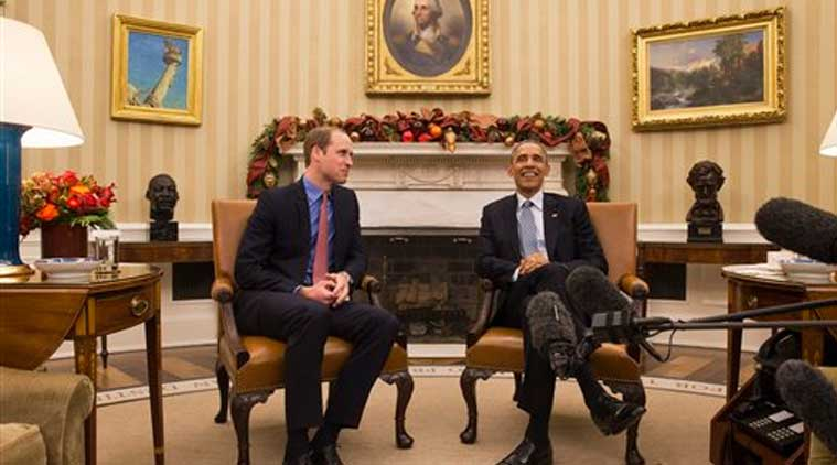 President Barack Obama meets with Britain's Prince William in the Oval Office of the White House in Washington, Monday, Dec. 8, 2014. (Source:AP)