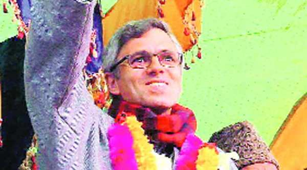 Omar Abdullah at a rally during the weekend.(PTI)
