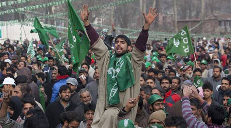 A Kashmiri supporter of the Peoples Democratic Party (PDP) shouts slogans during an election campaign rally in Srinagar, Indian controlled Kashmir, Thursday, Dec. 11, 2014. (Source: PTI)