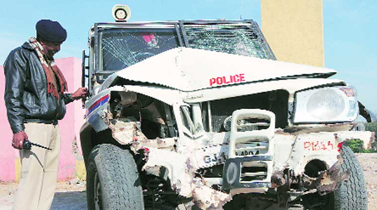The jeep of Vatva GIDC police hit a tree on Friday. (Source: Express photo by Javed Raja)