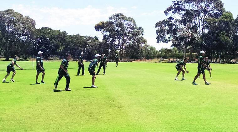 The Australian team during a fielding session. (Express photo by Bharat Sundaresan)