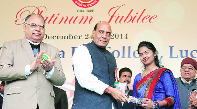 Union Home Minister Rajnath Singh at the Mahila College platinum jubilee celebrations in Lucknow on Saturday.  (Source: Express photo by Vishal Srivasta)