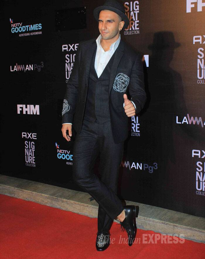 Ranveer Singh was stylish in a black with an interesting choice of shoes and a fedora. (Source: Varinder Chawla)
