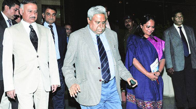 Ranjit Sinha with Anil Kumar Sinha on Monday. ( Source: Express photo by Prem Nath Pandey)