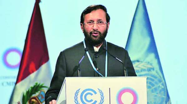 Javadekar at the climate change summit in Lima earlier this month.