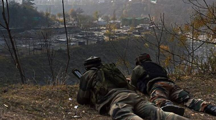 Soliders combating a group of militants who attacked an army camp in Uri, near the Line of Control on Friday. 8 army personnel, 3 policemen and 6 militants were killed in the shoot-out. (Source: PTI photo)