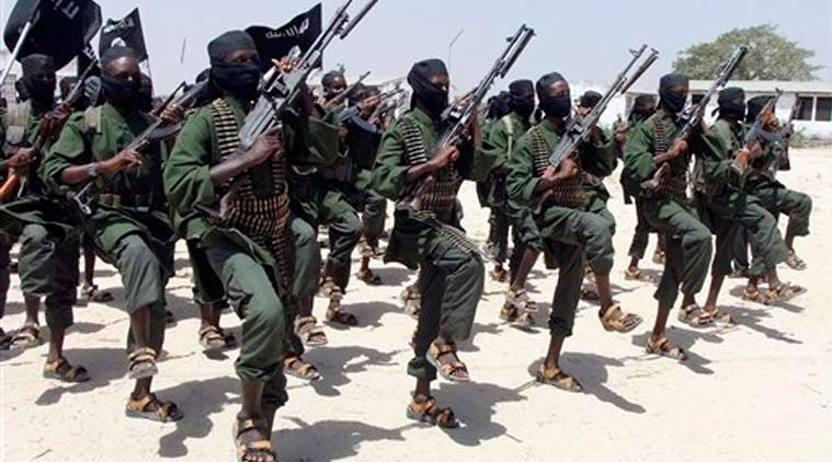 In this Thursday, Feb. 17, 2011 file photo, hundreds of newly trained al-Shabab fighters perform military exercises in the Lafofe area some 18km south of Mogadishu, in Somalia. (Source: AP)