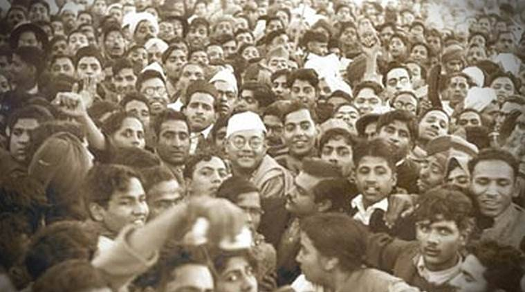 Subhas Chandra Bose, then president of the Indian National Congress, at the centre of a crowd at the Lahore railway station, British India, November 24, 1938. Source: Wikipedia)
