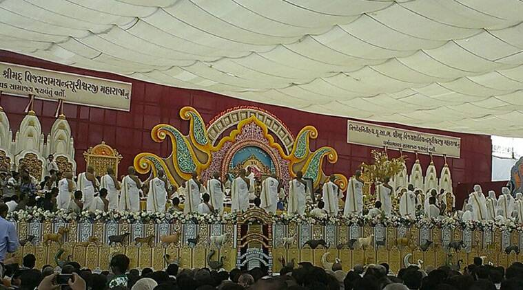 The event organised by the Samyam Suvas Parivar which claimed this was the biggest initiation in 522 years, the last one being in Palitana where 38 had taken diksha. (Source: Express photo)