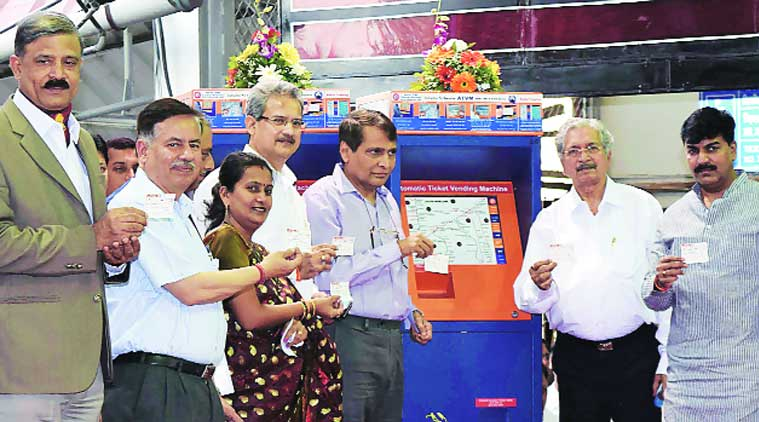 Railway Minister Suresh Prabhu  inaugurates mobile ticketing system at Dadar station on Saturday. (Source: Express photo)