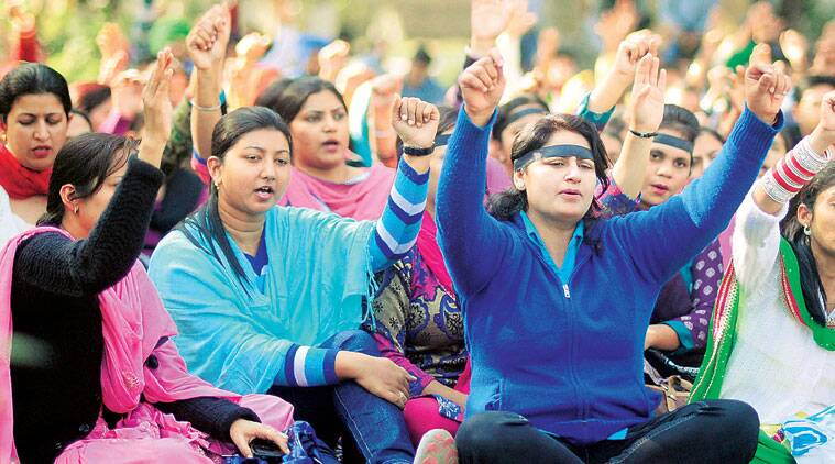 During the protest by teachers in Ludhaina on Sunday. (Source: Express photo by Gurmeet Singh)