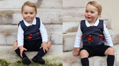 Royal cutie: Prince George turns Little Soldier in Christmas photos released by Kate and William