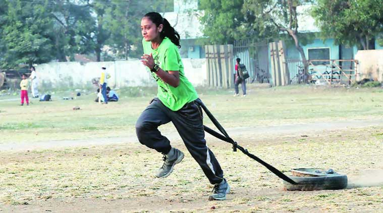 17-year-old Vaishnavi during practice. (Source: Express file)