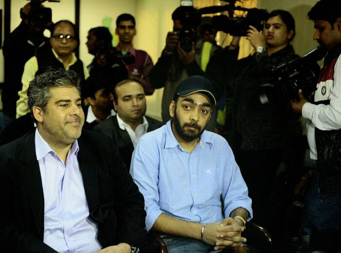 Uber Asia head Eric Alexander (left) with General Manager Gagan Bhatia (right), who claims to be the in-charge of the company's India operations, meets DCW chairperson Bharkha Shukla Singh in New Delhi on Tuesday. The company was banned from operating in the city by Delhi government. (Source: Express photo by Praveen Khanna)