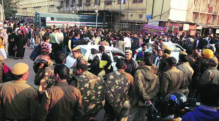 Security at Tis Hazari court where Uber rape accused Shiv Kumar Yadav was produced on Thursday. (Source: Express photo by Amit Mehra)