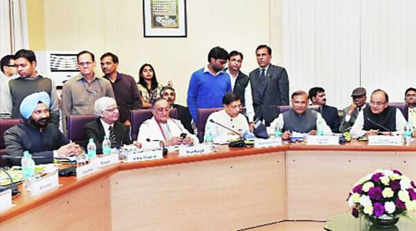 (From right) Finance Minister Arun Jaitley, Minister of State for Finance Jayant Sinha and Chief Economic Adviser Arvind Subramanian with state finance ministers at a meeting of Empowered Committee on the GST in New Delhi on Thursday.( Source:  PTI)