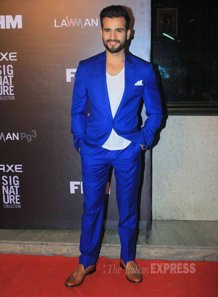 Film and television actor Vishal Singh was eye-catching in royal blue. (Source: Varinder Chawla)