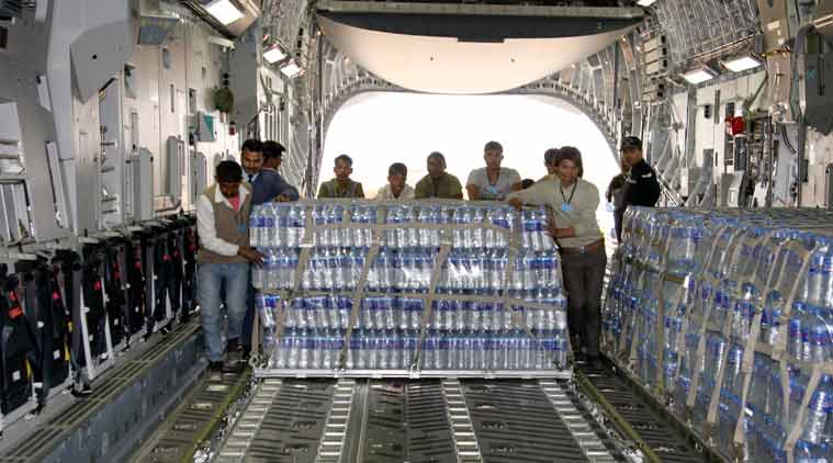 Male: Water bottles being loaded in C-17 Globemaster III of Indian Air Force as India sends drinking water to Maldives after water was cut off to the residents in the Maldives' capital, in New Delhi on Friday. (Source: PTI)