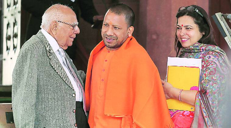 Ram Jethmalani, Yogi Adityanath and Meenakshi Lekhi at Parliament Monday. (Source: Express photo by Anil Sharma)